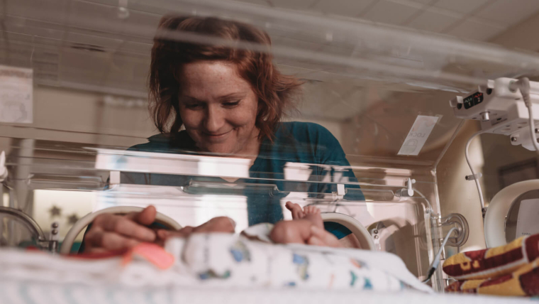 mom and baby in the NICU